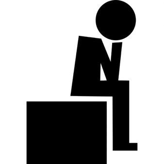 Perdedor sentado silueta resignada