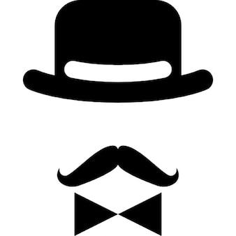Personaje masculino antigua de un sombrero de un arco y un bigote