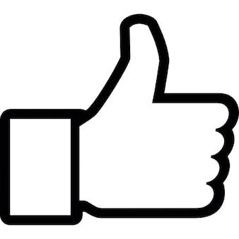 Pulgar hacia arriba a gustar en facebook