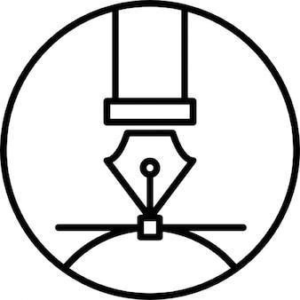 Punta de pluma de caligrafía en fondo circular