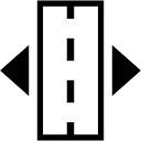 Rectángulo con línea discontinua en el centro y dos flechas que apuntan hacia los lados