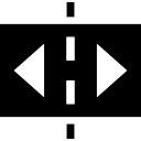 Rectángulo horizontal dividida en dos con flechas a los lados