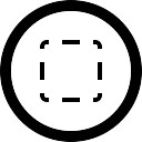 Seleccione cuadrado de línea discontinua en el botón circular