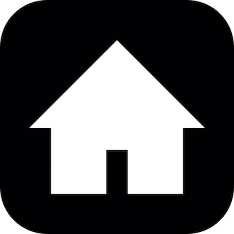 Silueta casa sobre fondo negro cuadrado