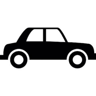 Silueta de coches de época de vista lateral