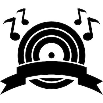 Símbolo auge de la música de un disco musical con las notas musicales y una bandera de la cinta