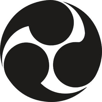 Símbolo circular de Japón con tres círculos de rotación