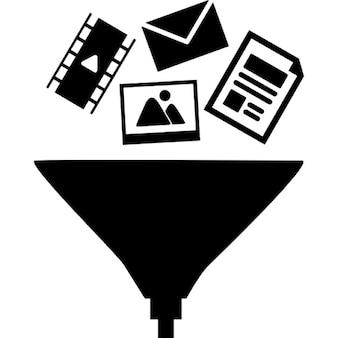 Símbolos de datos en un embudo