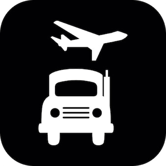 Tierra y blancos aéreos de transporte formas de un camión y un avión en un cuadrado negro redondeado