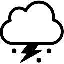 Tormenta símbolo de la nube con el rayo y el granizo