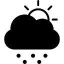 Tormentoso Fría símbolo climático día de nube oscura que oculta el sol y puntos de caer