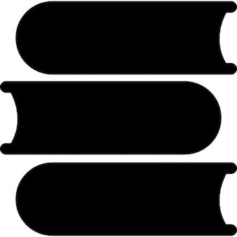Tres libros de pila de la visión inferior