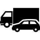 Viajar vehículos de una carretera