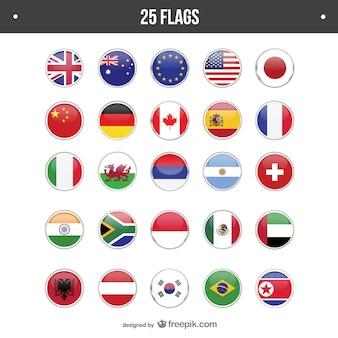 25 drapeaux fixés ronde