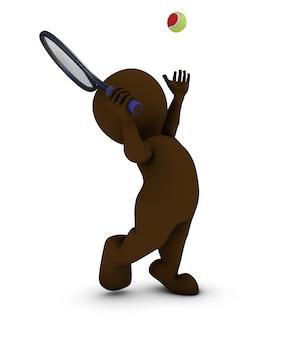 3d homme jouant au tennis