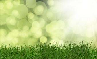 3D rendent d'herbe verte luxuriante sur un fond défocalisé