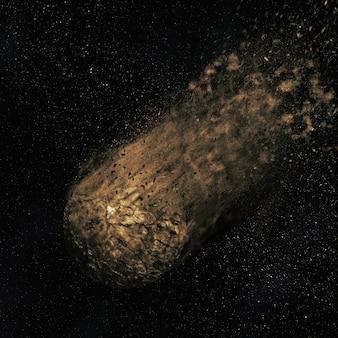 3D rendent d'un astéroïde de vol si un ciel de nuit