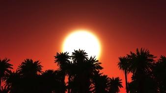 3D rendent d'un paysage tropical avec des palmiers contre le coucher du soleil ciel