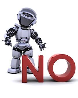 3D rendent d'un robot avec un aucun signe