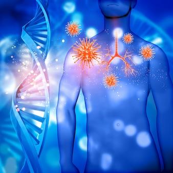 3D rendent d'une figure masculine médicale avec bronchus mis en évidence des cellules de virus et des brins d'ADN