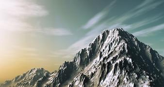 3D rendent d'une montagne enneigée