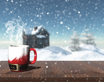 3D rendent d'une tasse de Noël sur une table avec l'image défocalisé de la maison de neige avec des arbres et maison