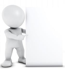 3D Render de Morph Man avec signe blanc