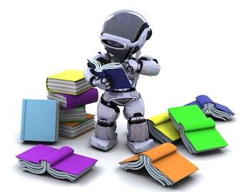 3D Render de robot avec des livres