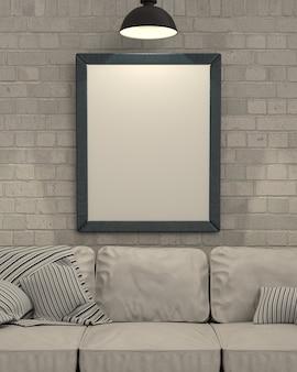 3d render de vide cadre photo sur le mur