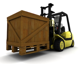 3D Render of Man Driving Fork Lift Truck Isolated on White