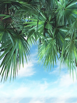 3D render of palm tree leaves against a blue sky