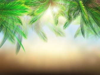 3D render of palm tree leaves against defocussed background