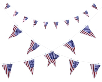3D render of stars and stripes bunting and pennants