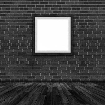 3D rendu d'un cadre photo vierge accroché à un mur de briques