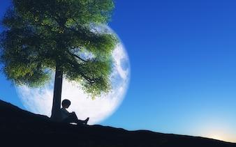 3D rendu d'un garçon assis contre un arbre avec la lune dans le ciel nocturne