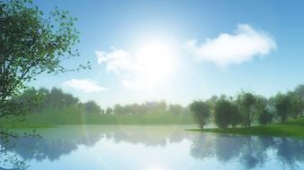 3D rendu d'un paysage avec des arbres contre la rive