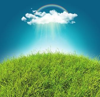 3D rendu d'un paysage herbeux courbé avec un arc-en-ciel et un nuage de pluie