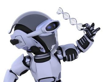 3D rendu d'un robot inspectant un brin d'ADN