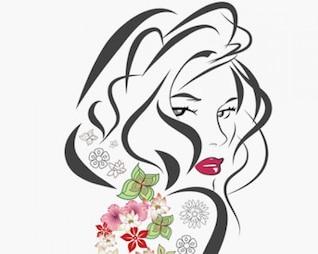 illustrations stock fille-fleur-vecteur