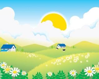 paysage estival village
