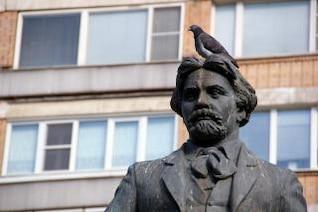 pigeon sur la statue