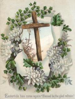 victorienne carte de voeux de Pâques croix christianisme