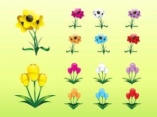 Ensemble d'icônes colorées plantes