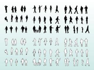 Personnes silhouettes et de l'emballage conception des contours
