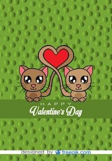 Carte de vecteur de bande dessinée - chats dans l'amour