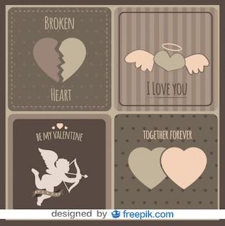 Collection vintage des cartes d'amour