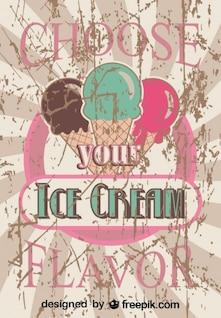 Conception de l'affiche de la crème glacée saveur rétro favori