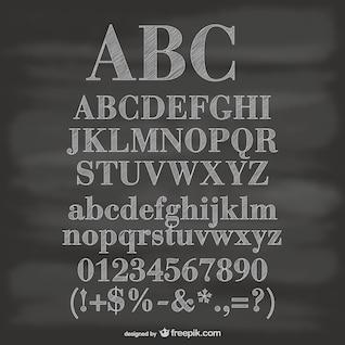 Des chiffres et des symboles de l'alphabet vecteur tableau