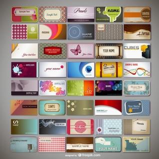 variété de cartes de visite vecteur modèle de matériau