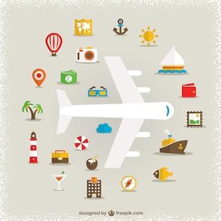 Vacances symboles plats de dessin vectoriel